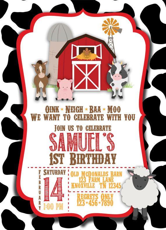 Barnyard Farm Birthday Printable Invitation Red Farm Birthday Invitation Farm Birthday