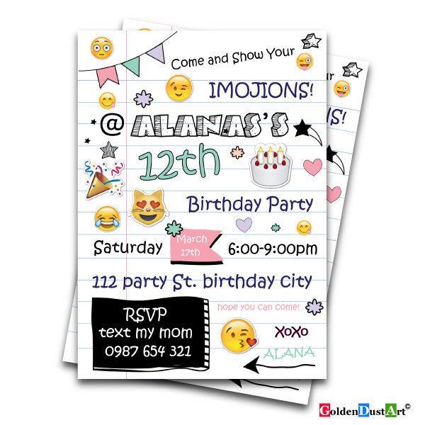 Emoji Birthday Invitation Tween Birthday Invite Teen Birthday