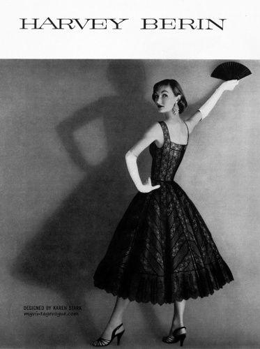 Evelyn Tripp wearing Harvey Berin designed by Karen Stark 1955