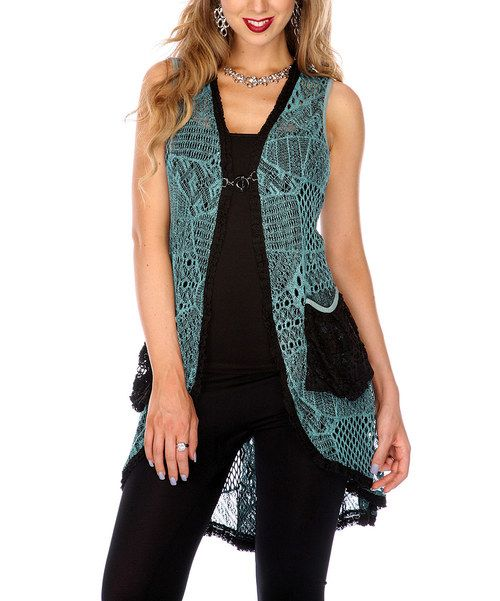 Take a look at this Lily Teal Crocheted Hi-Low Vest on zulily today!