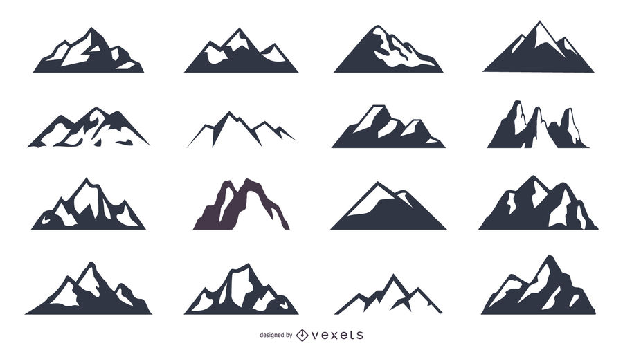 12 Flat Mountain Icons Set Includes Many Designs In Different Styles And Shapes Great Mountain Silhouettes And Illustrations Let S Go Hiking Icon Set