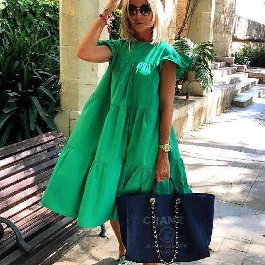 Ruched Short Sleeve Loose Green Midi Dress Amy Blouse Store Loose Midi Dress Green Midi Dress Flower Print Midi Dress [ 900 x 900 Pixel ]