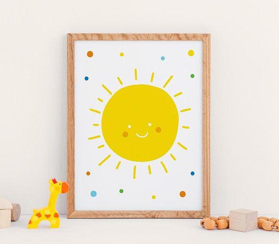 Sunshine Nursery Printable Art. Yellow Nursery Wall Art Decor ...
