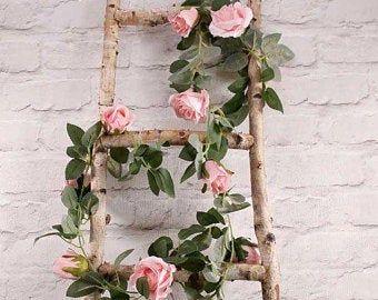 Photo of Luce blush rosa fiore ghirlanda, fiori artificiali, viti, ghirlanda di fiori, Decorazioni matrimonio rustico, casa luce rosa