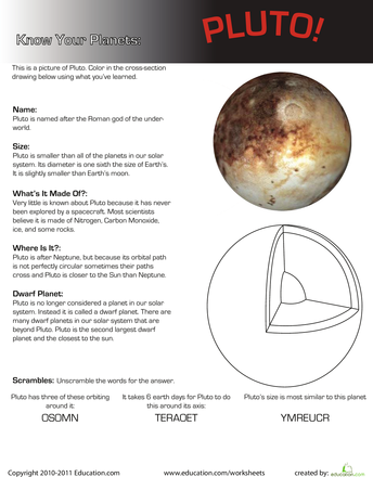 Heres a great way to teach your kids more about our solar system This worksheet focuses on the dwarf planet Pluto