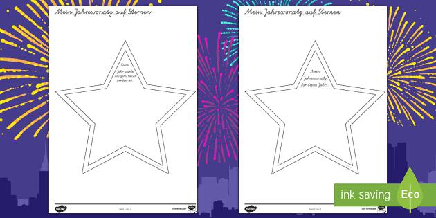 Mein Jahresvorsatz auf Sternen Arbeitsblatt - My New Year ...