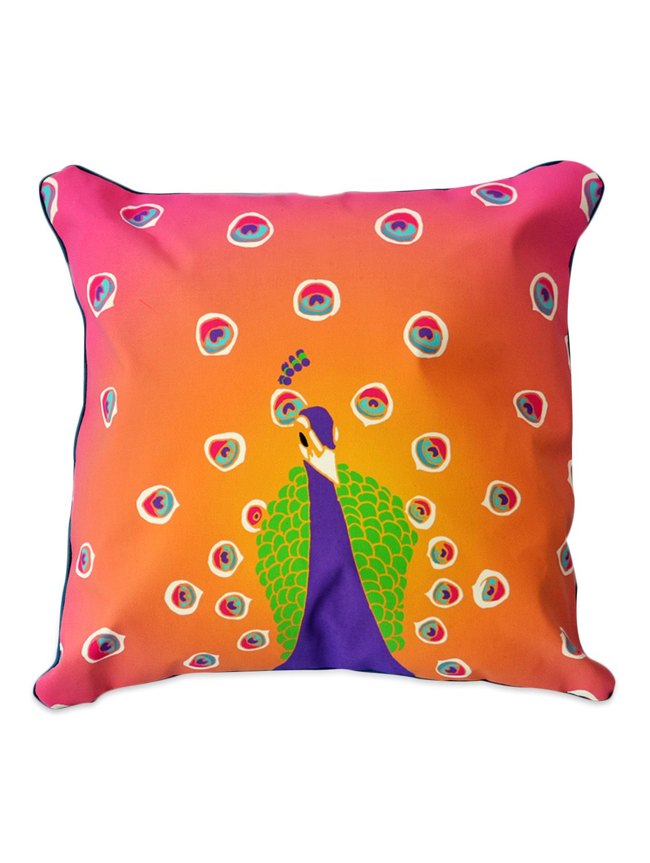 Multicoloured peacock print cushion cover peacock print design