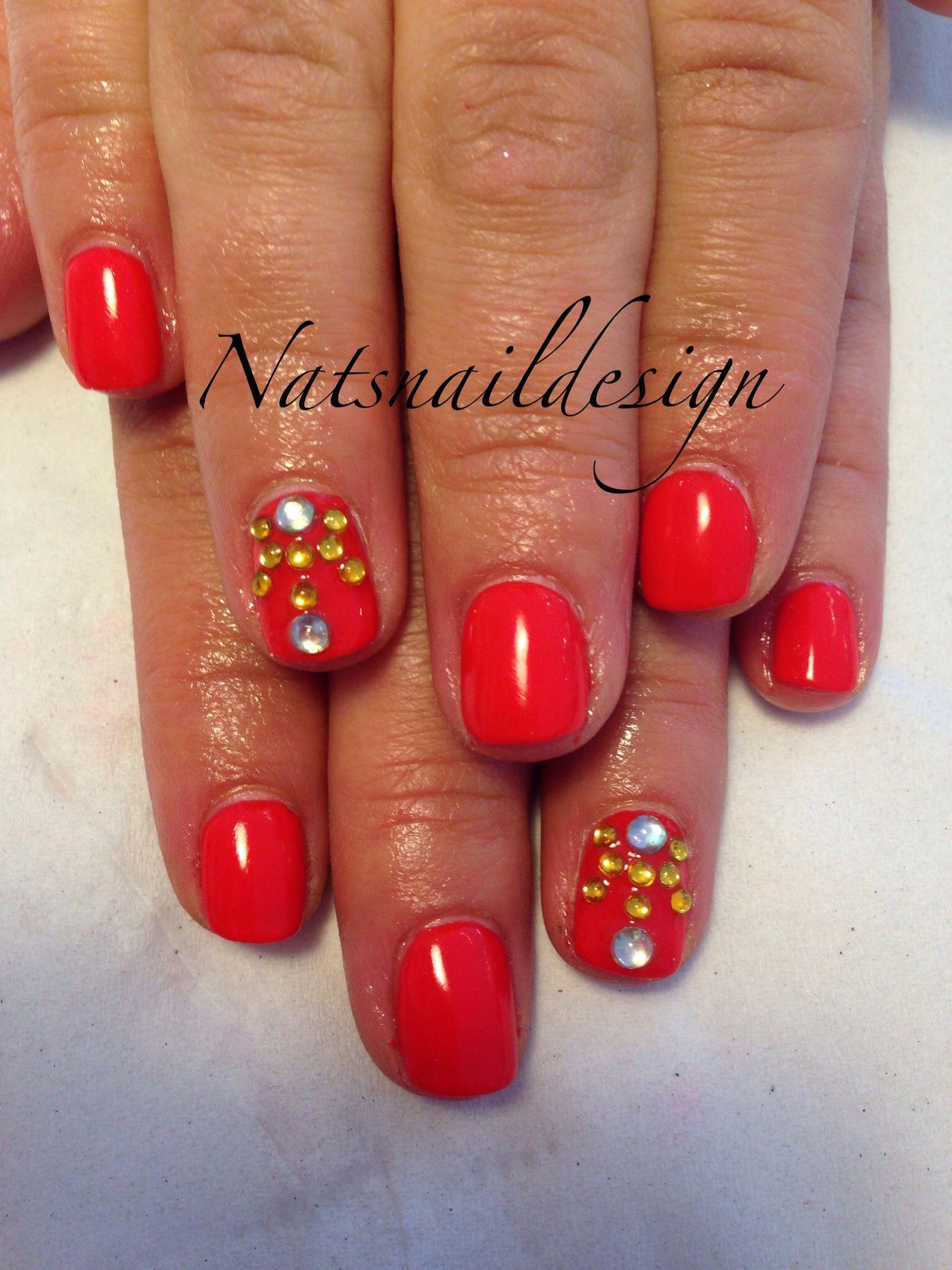 Orange jewelled nails #liverpool #nails #nailart #jewels | Nail Art ...