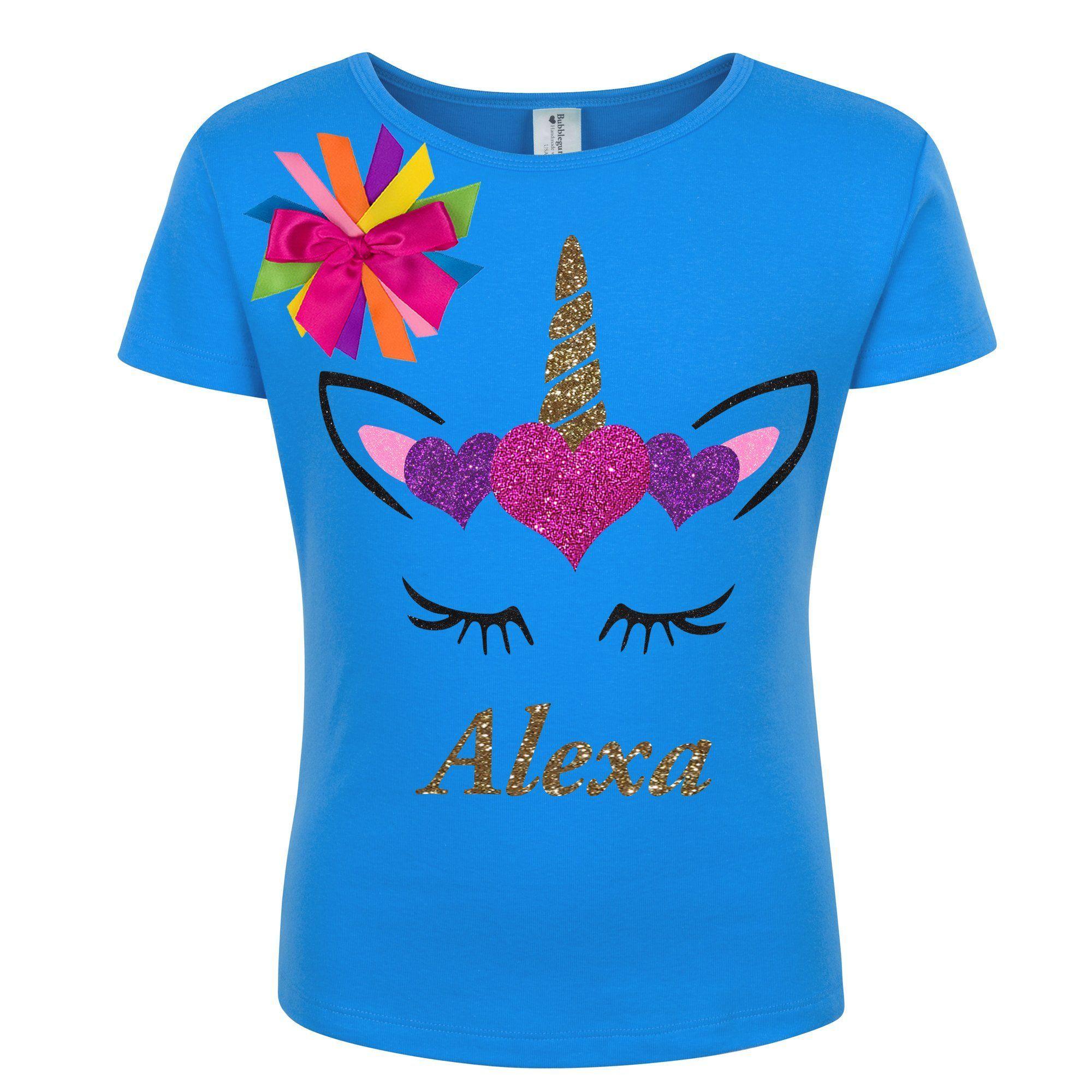 Bubblegum Divas Unicorn Shirt Girls 2nd Birthday Rainbow Party Personalized Gift
