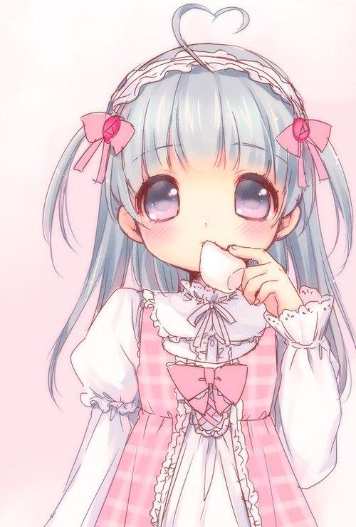 Anime Art Pastel Chibi Big Eyes Blue Hair