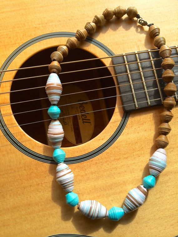 Handmade Paper Bead Neckalce Brown and by JuliasPaperBead on Etsy, $25.00