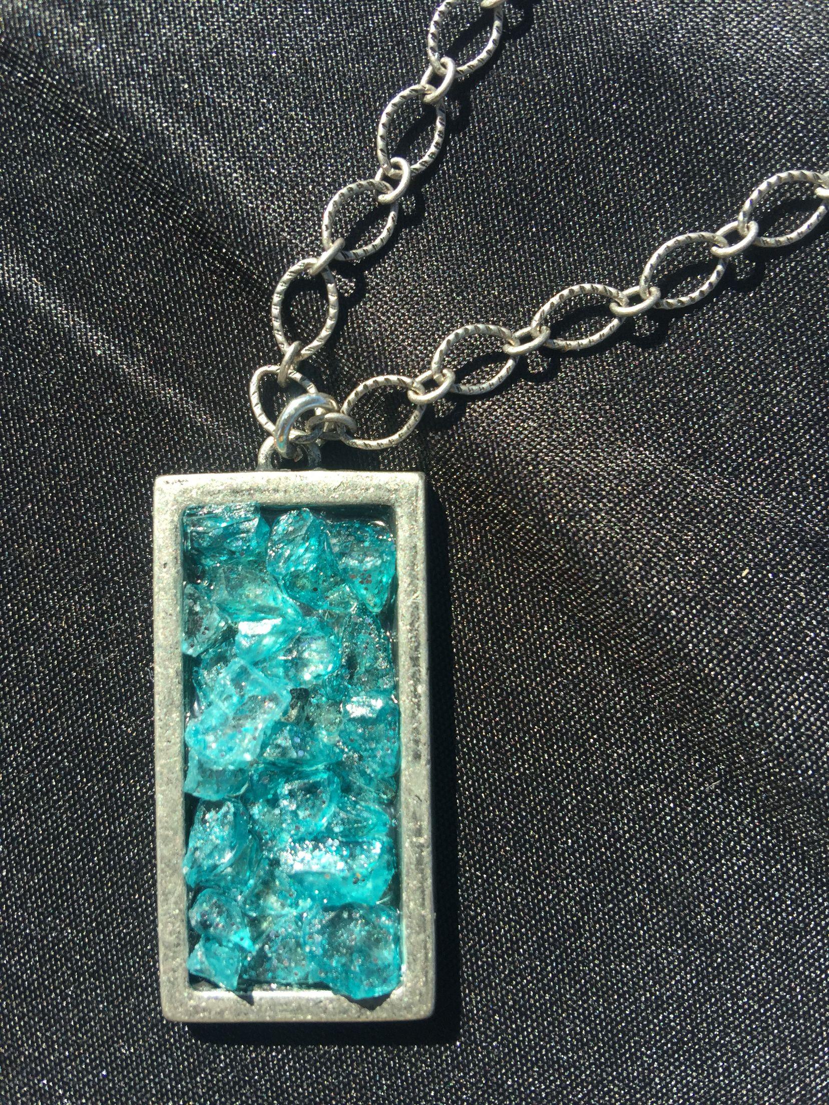 Turquoise broken glass on silver rectangular pendant broken glass turquoise broken glass on silver rectangular pendant aloadofball Images