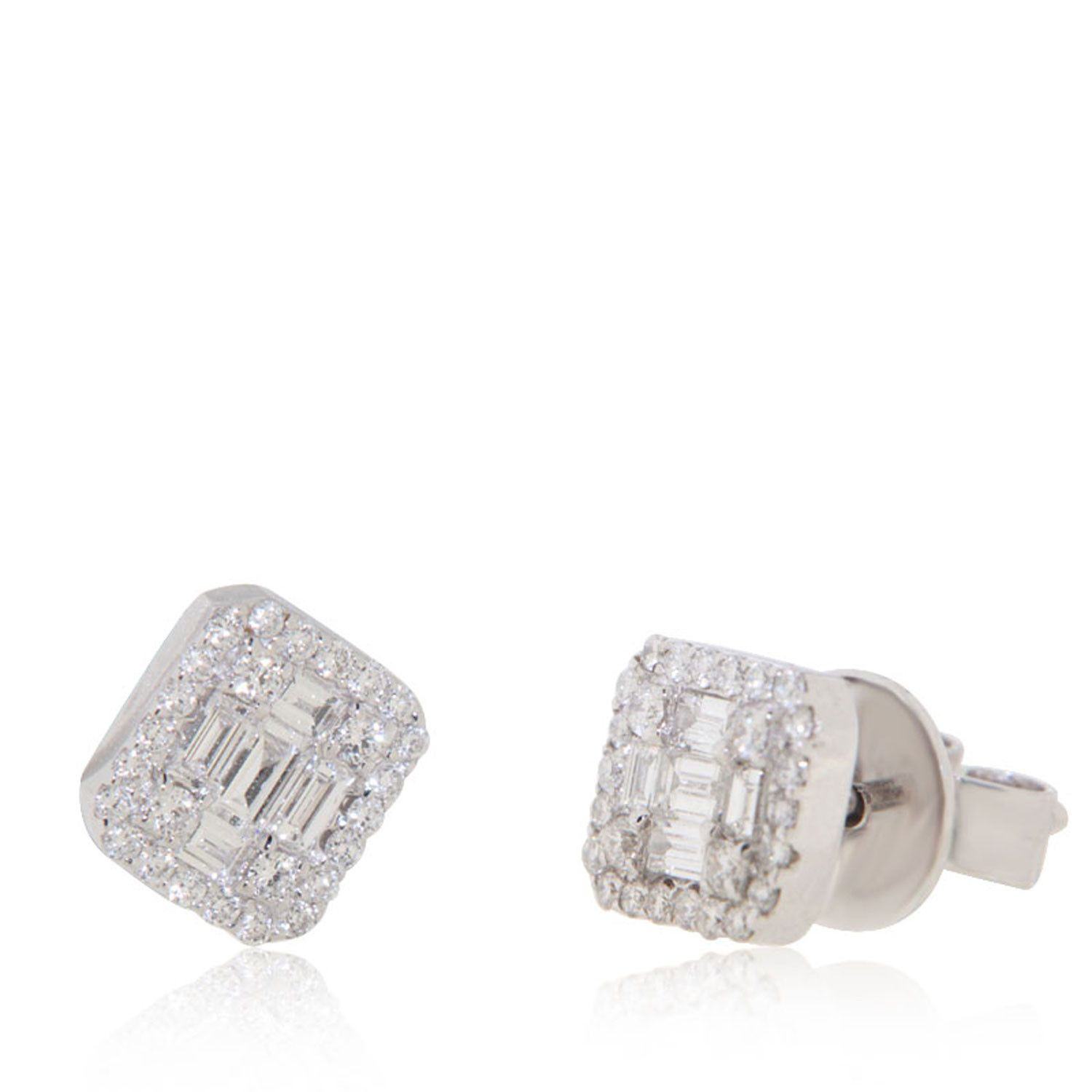 218a3821e86c0 Rectangular diamond stud earrings in 2019 | Myron-Earrings | Diamond ...