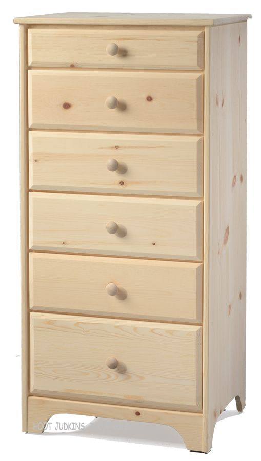 Solid Pine Wood Shaker 6 Drawer Chest In Unfinished