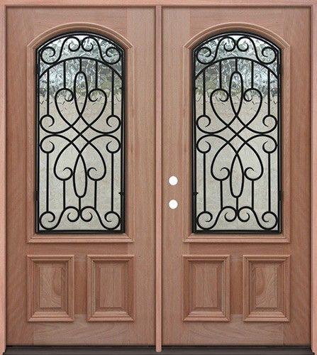 23 Arch Grille Mahogany Prehung Double Wood Door Unit A623fa