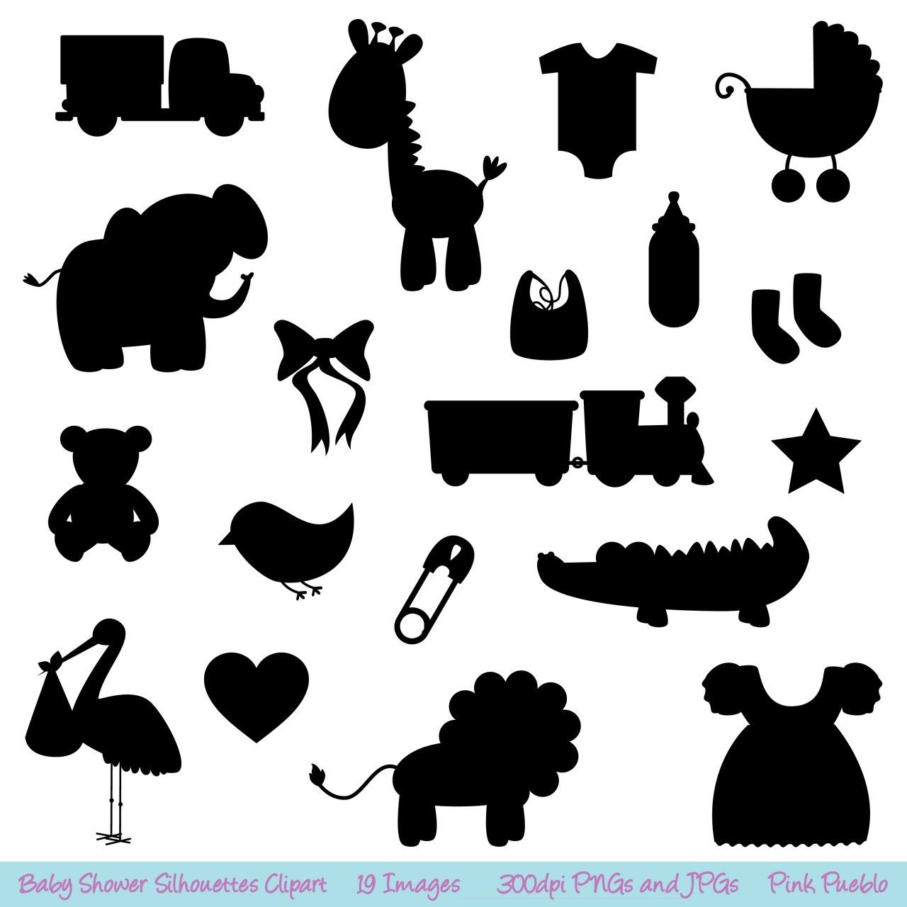 Baby Shower Silhouettes SVGs Baby Shower Cutting By PinkPueblo