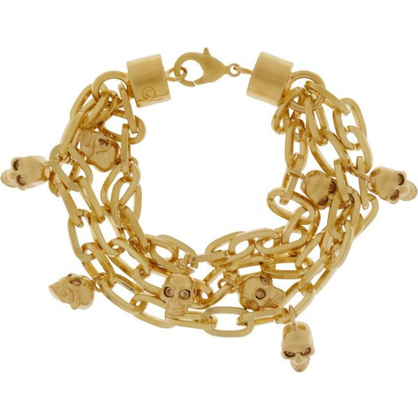 Alexander McQueen Gold-tone Swarovski crystal skull charm bracelet found on Polyvore
