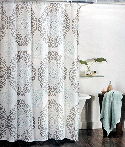 Tahari Fabric Shower Curtain Gray And Aqua Blue Scroll Medallions