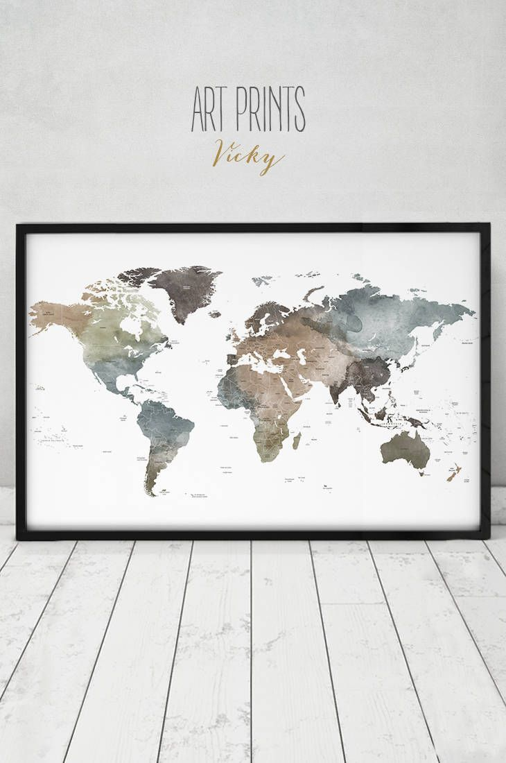 Travel world map art poster detailed world map print detailed map travel world map art poster detail world map print detail map travel decor gumiabroncs Image collections