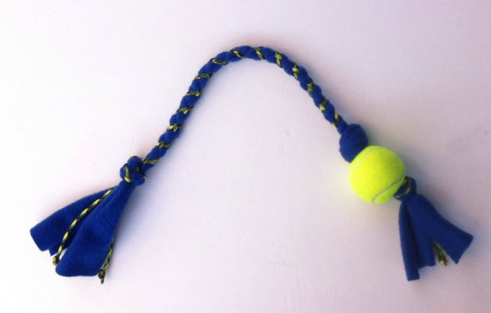 Tennis Ball Dog Toy With Paracord And Fleece Throw Rope Tug Toy