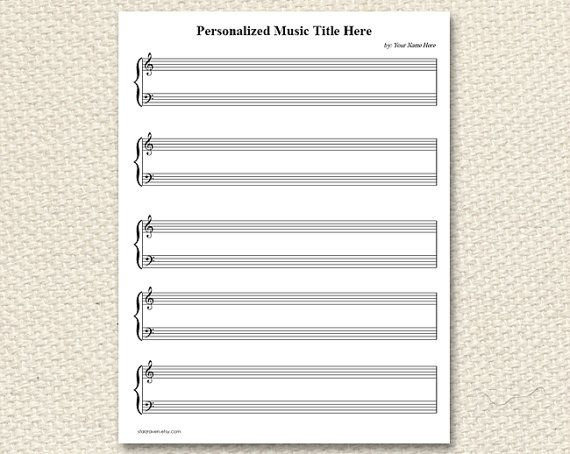 PRINTABLE personalized Piano Sheet Music - BLANK Piano and Vocals ...