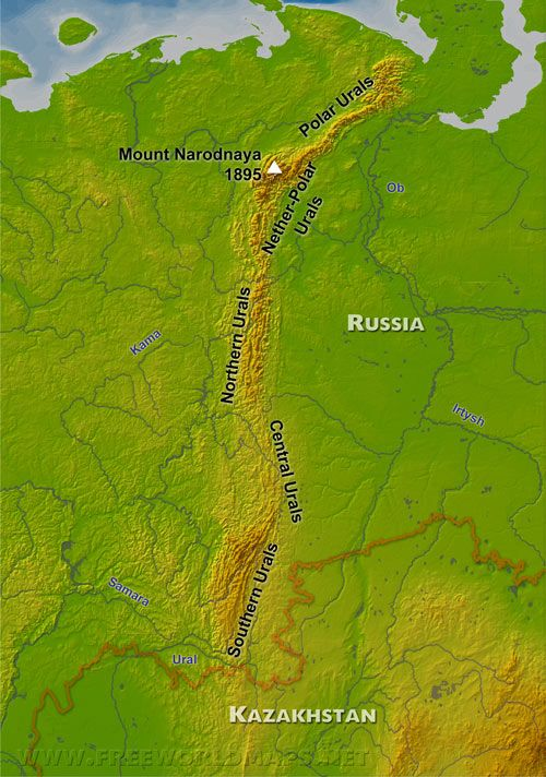 ural mountains on world map images