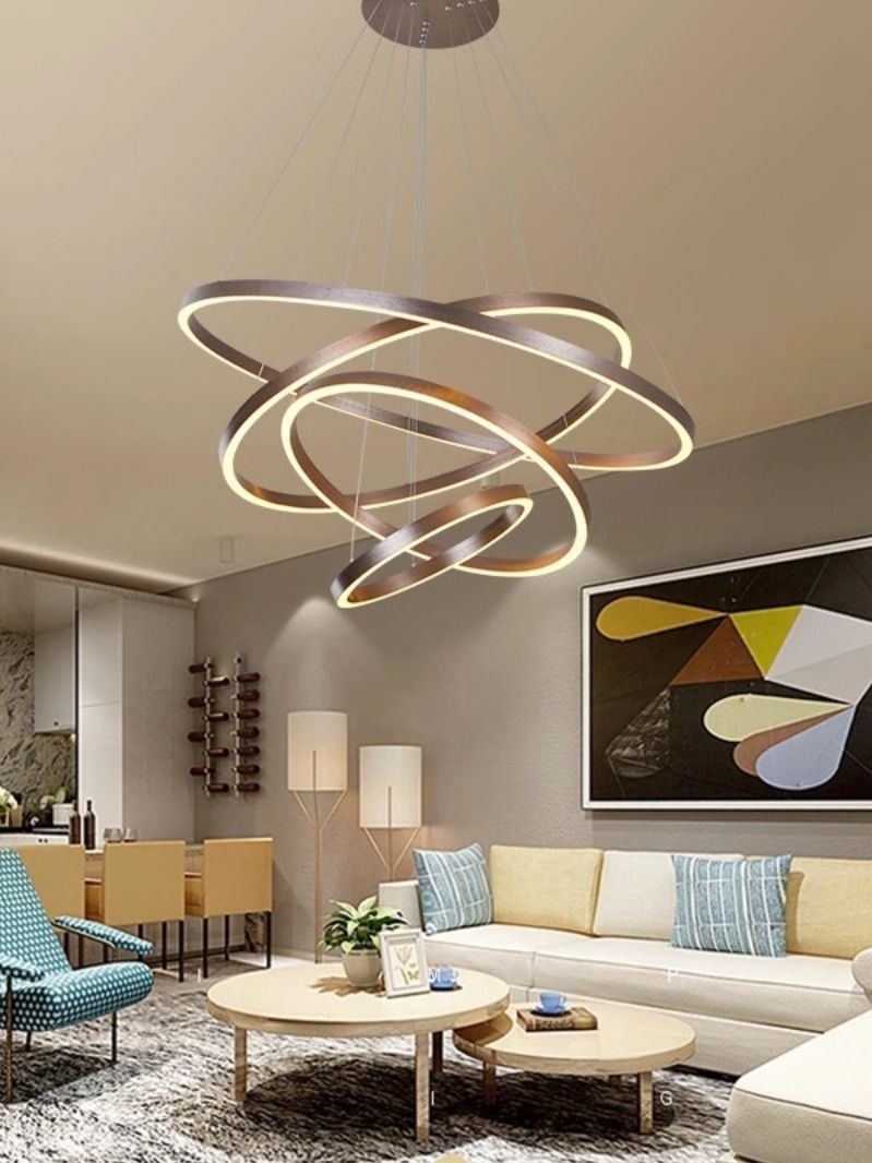 Modern Pendant Lights 4 3 2 1 Circle Rings Acrylic Aluminum Led Pendant Lamp For Living Room Dining Room Pendant Lighting Bedroom Living Room Bedroom Modern Pendant Light
