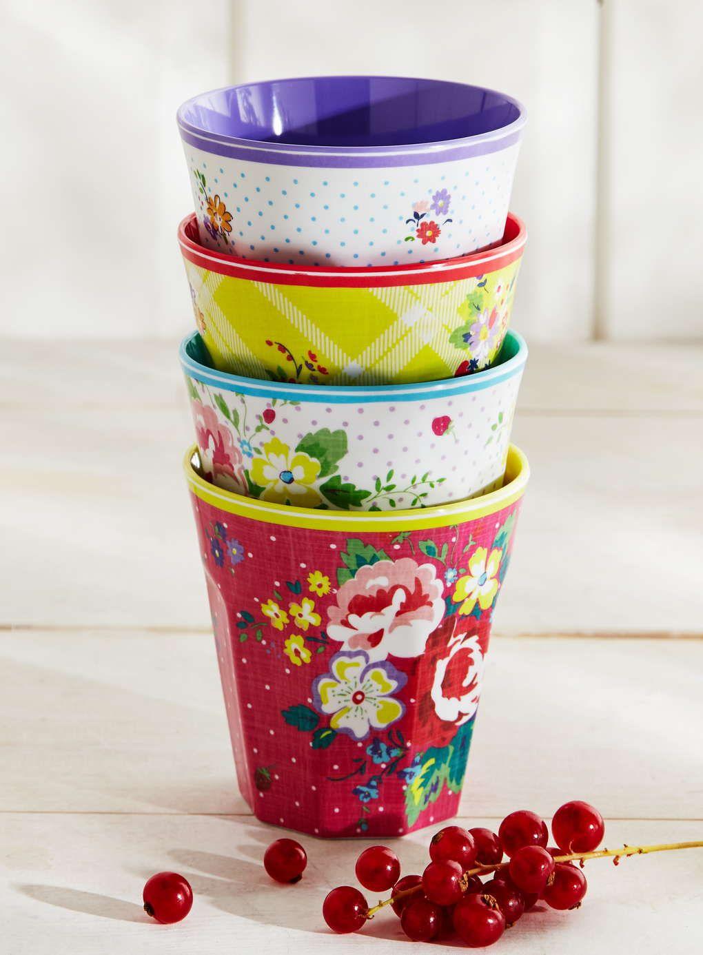 Set Of 4 Flower Power Melamine Cups Multi Bhs Melamine Cups British Home British Home Stores