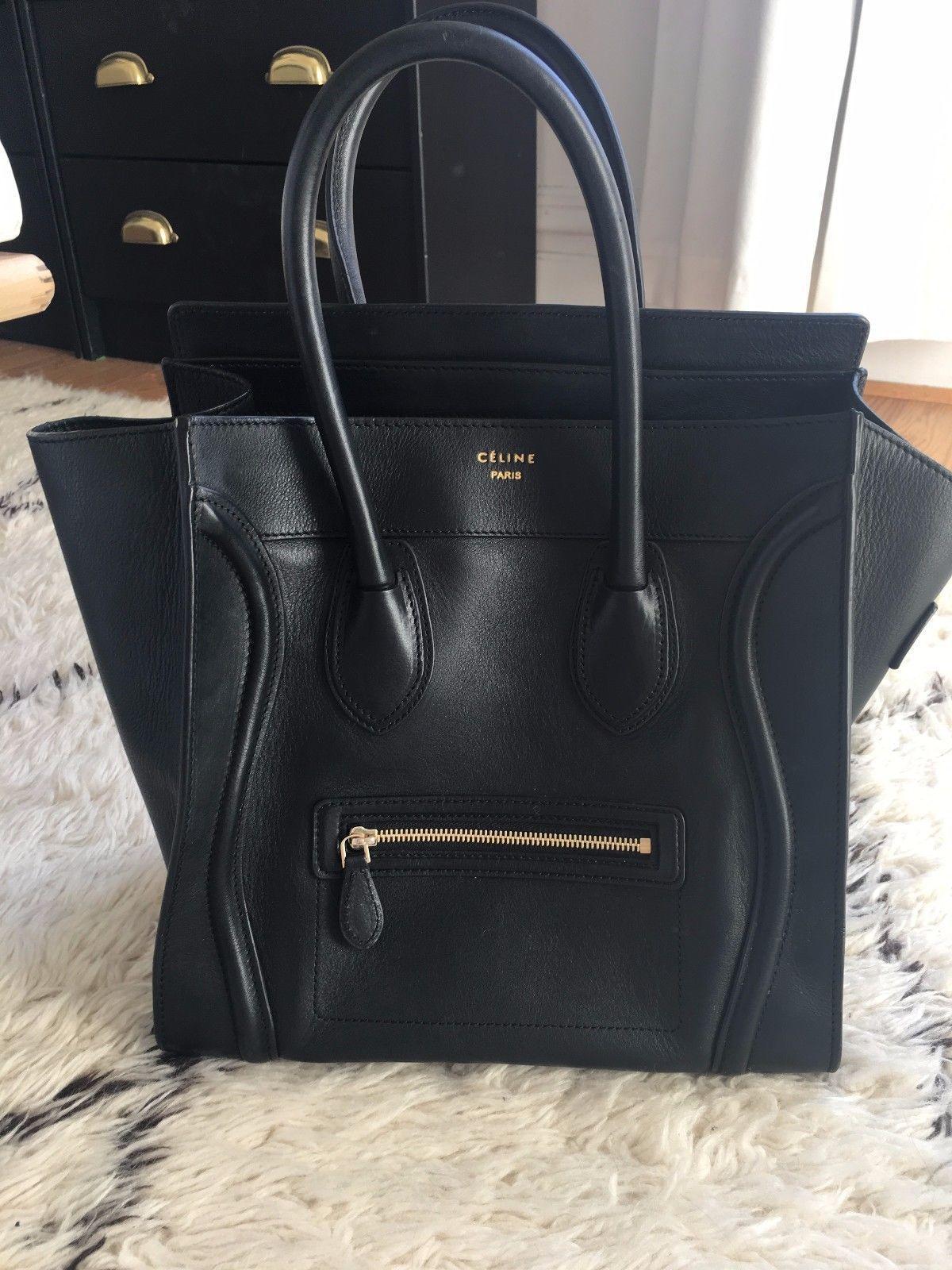 Celine Phantom Luggage Bag In Black Leather 26cm