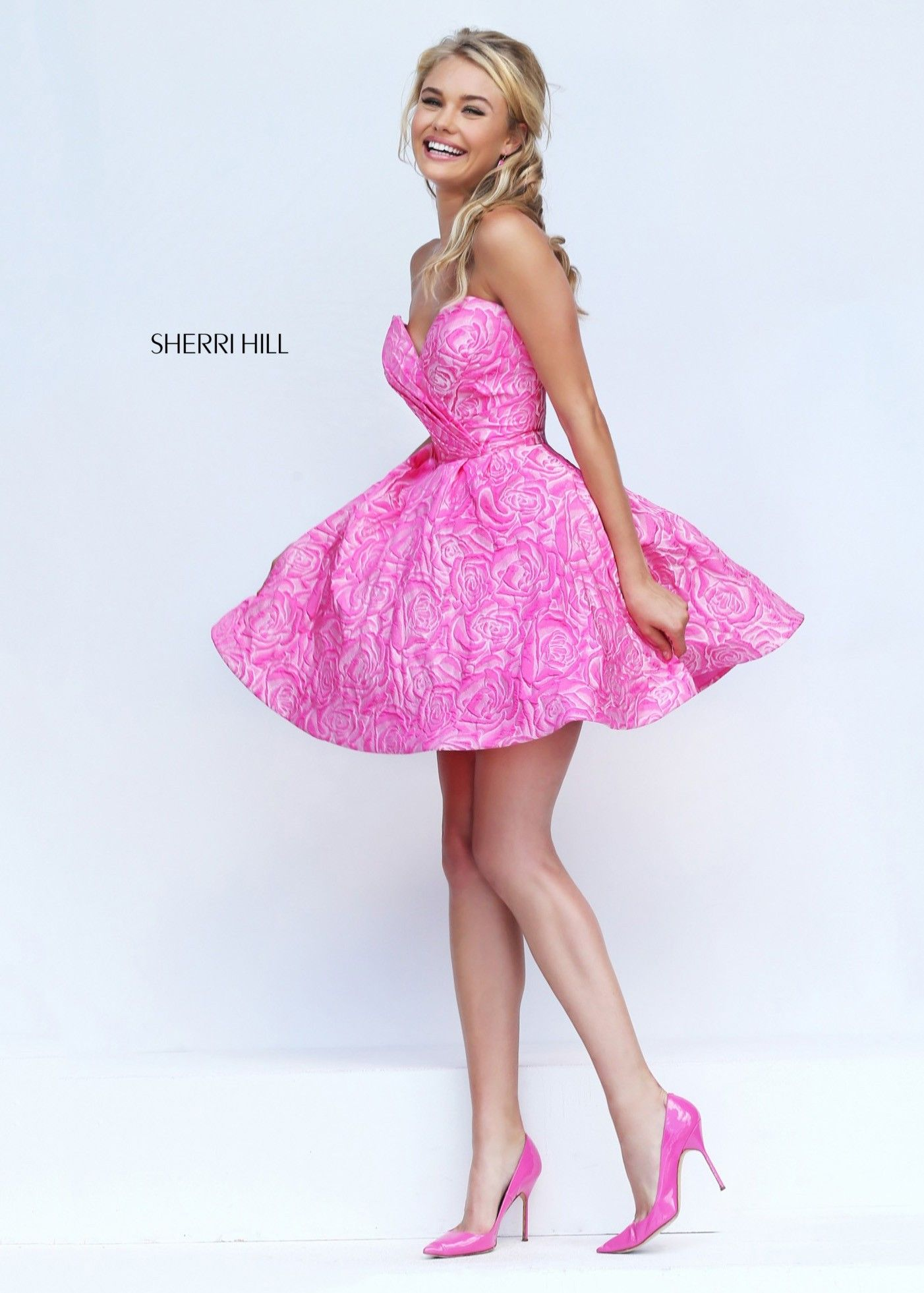Sherri Hill 50131 Pretty Pink Strapless Floral Cocktail Dress | Moda ...