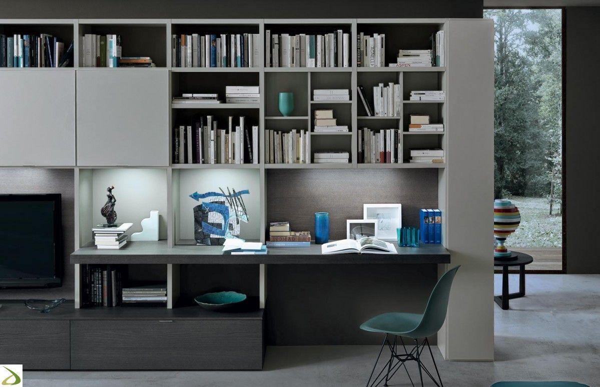 Risultati immagini per libreria componibile con scrivania for Design stanza ufficio