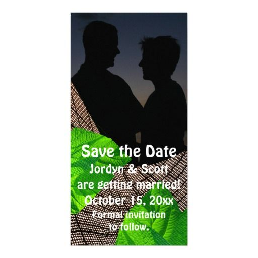 curved weave and leaf abstract save the date photo card template