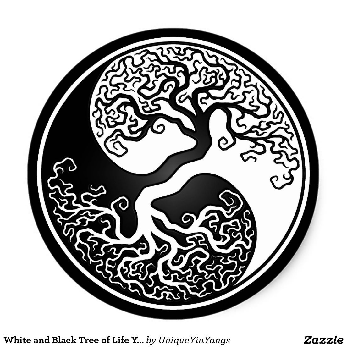 Tree Of Life Ideal Size Of A 48: Arbre De La Vie Blanc Et Noir Yin Yang Sticker Rond