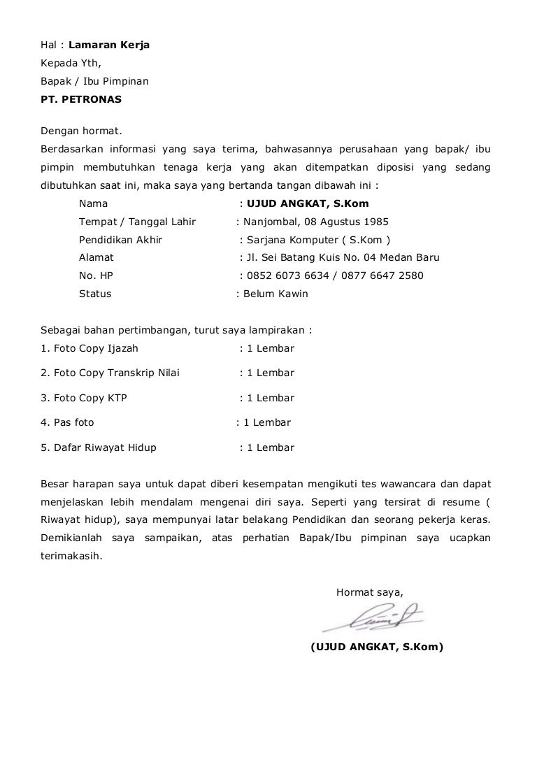 Contoh Application Letter Untuk Kapal Pesiar Application