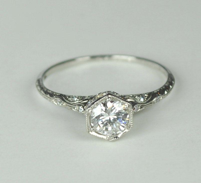 Simply Elegant Art Deco Engagement RIng | engagement rings ...