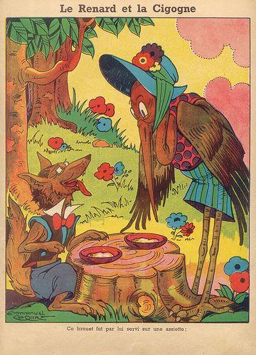 Les fables de la fontaine et les contes de perrault illustrations d 39 emmanuel cocard - Dessin le renard et la cigogne ...