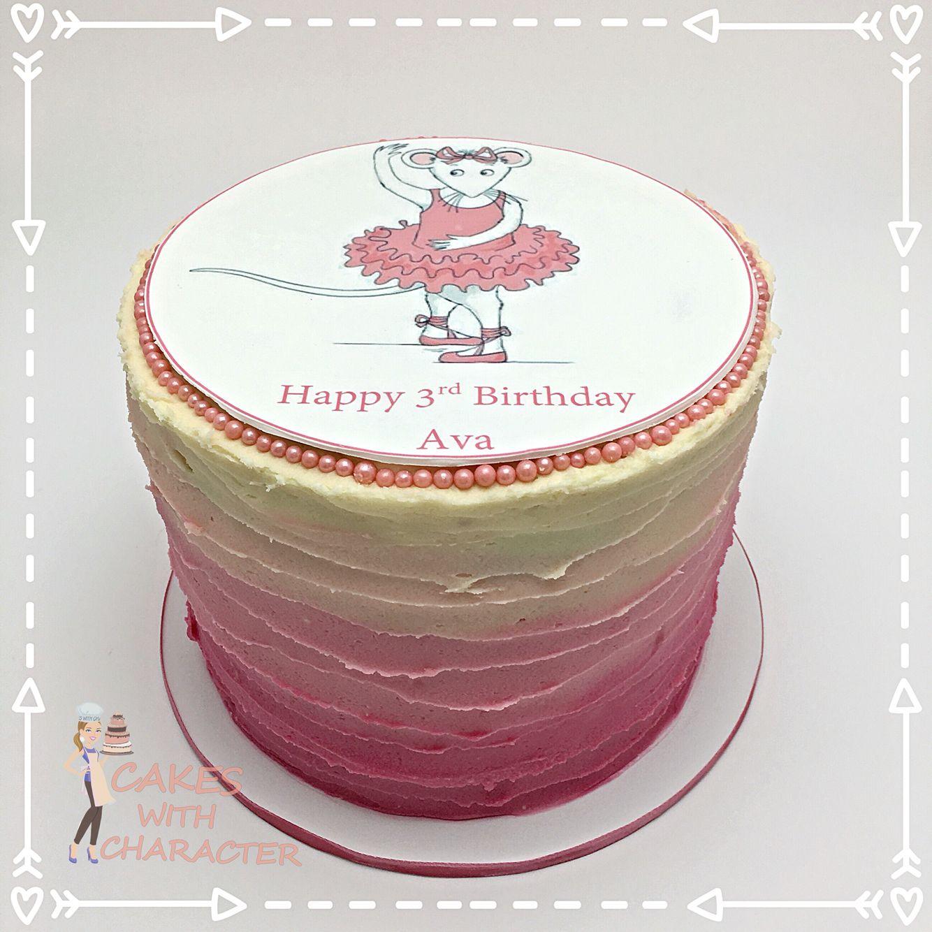 "Angelina ballerina Ombre pink 6"" tall buttercream cake ..."