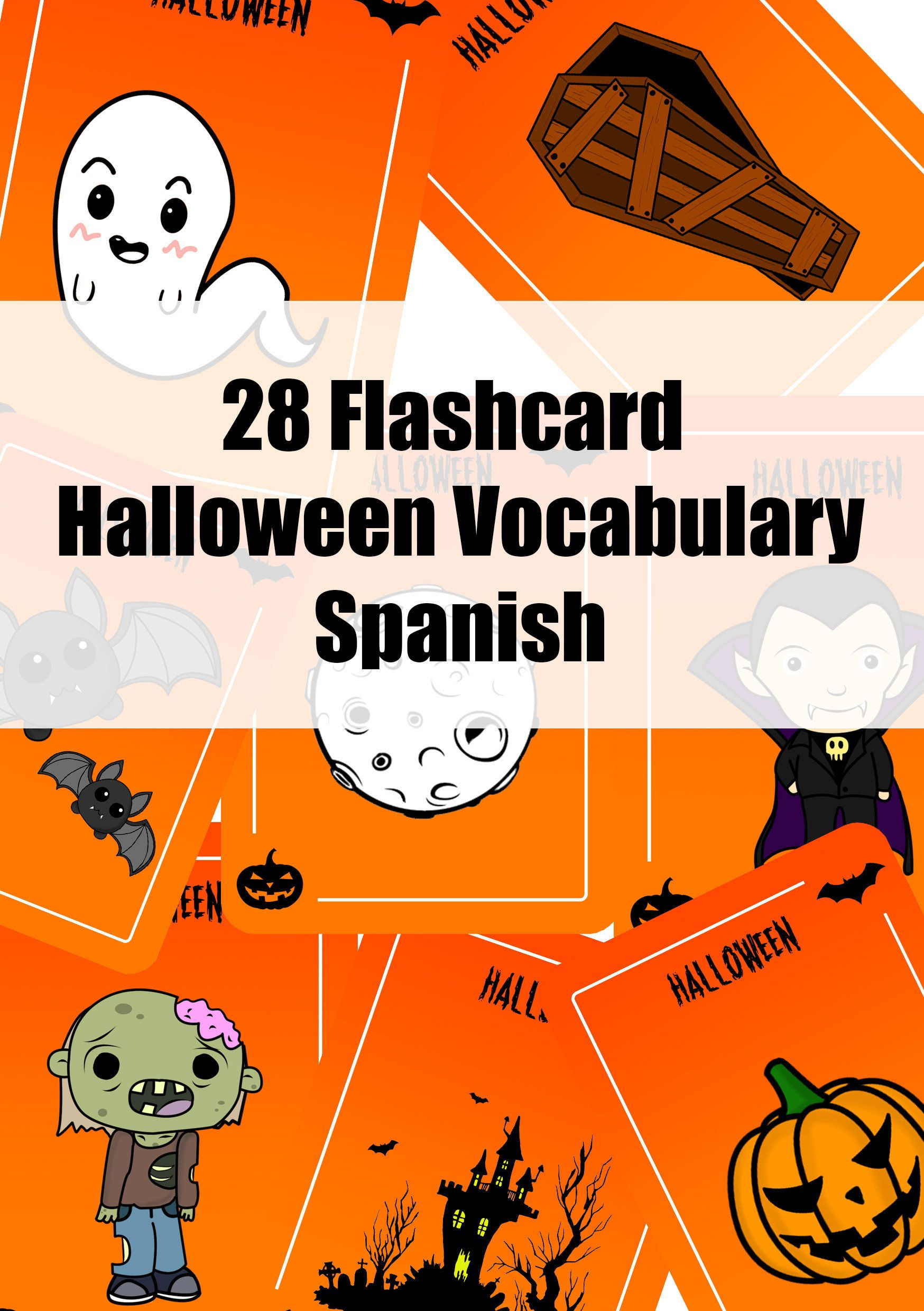 28 Flashcard Halloween vocabulary in Spanish (con imágenes