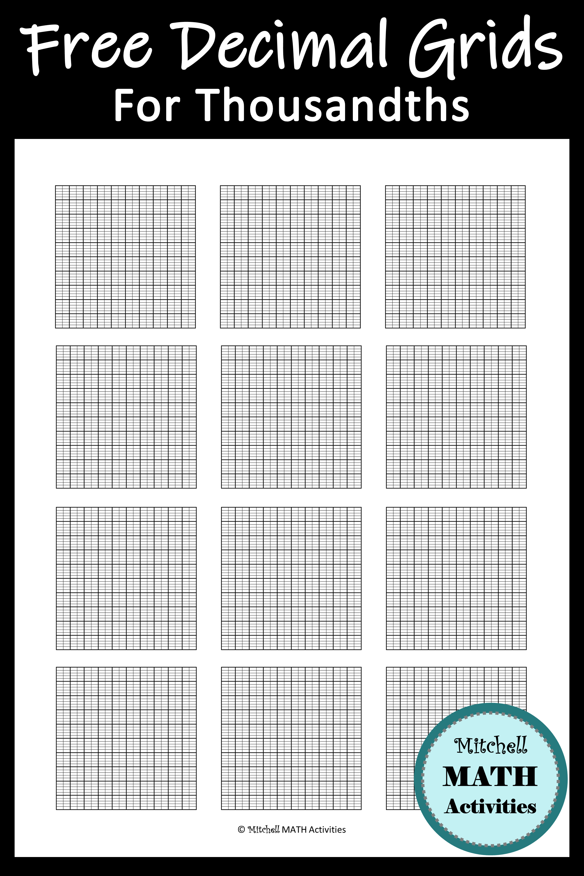 hight resolution of FREE printable decimal grid models for thousandths and tips for teaching  decimal concepts. Several pages with dif…   Decimals