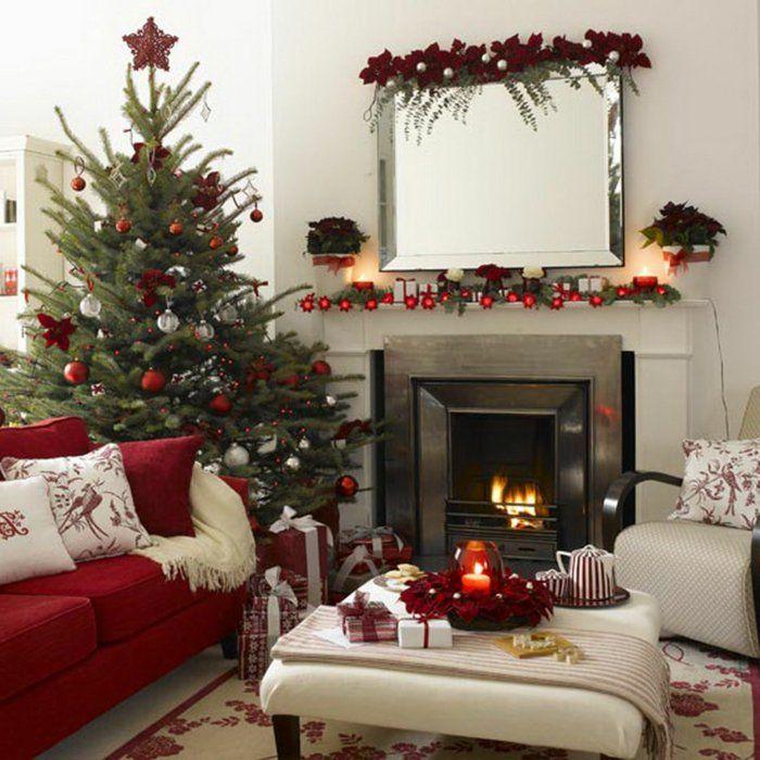 Tannenbaum Wohnzimmer Kamin Roter Weihnachtsschmuck Rotes Sofa
