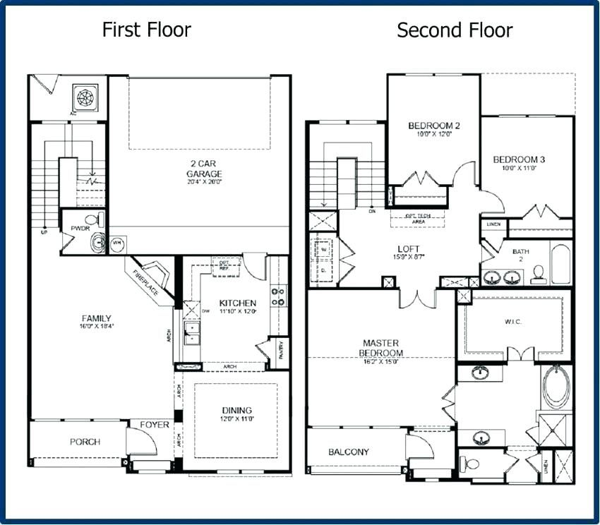 2 Story House Plans Master Bedroom Downstairs In 2020 Small House Blueprints Garage House Plans Story House