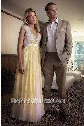 Blake Lively Yellow Chiffon Lace Prom Dress Gossip Girl Season 6 Fashion 9e35eed7df13