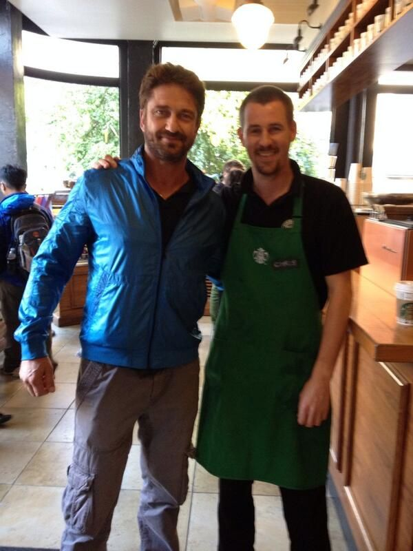Chris Strother @castrother Some hunk with @ GerardButler . nice to meet you sir. #lads #beards pic.twitter.com/s8PCzudm9R