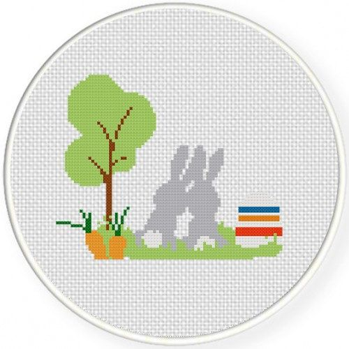 Best Bunnies Handmade Unframed Cross Stitch by CustomCraftJewelry