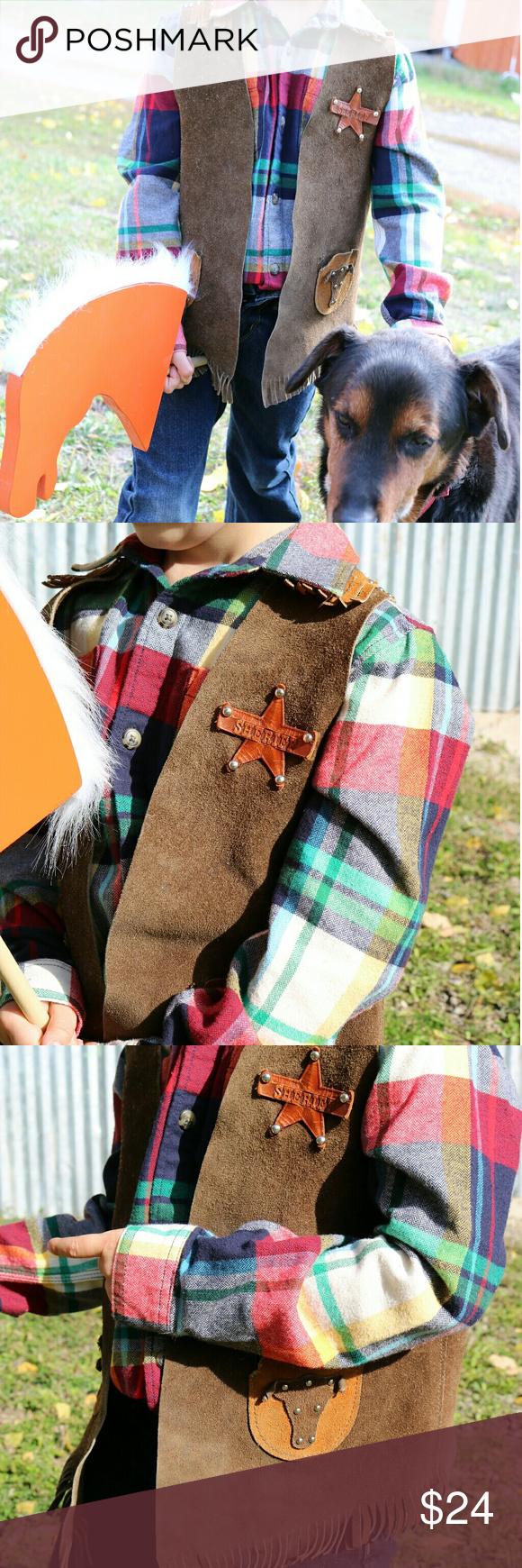 VINTAGE Kids Suede Western Vest Costume GOD'S COUNTRY