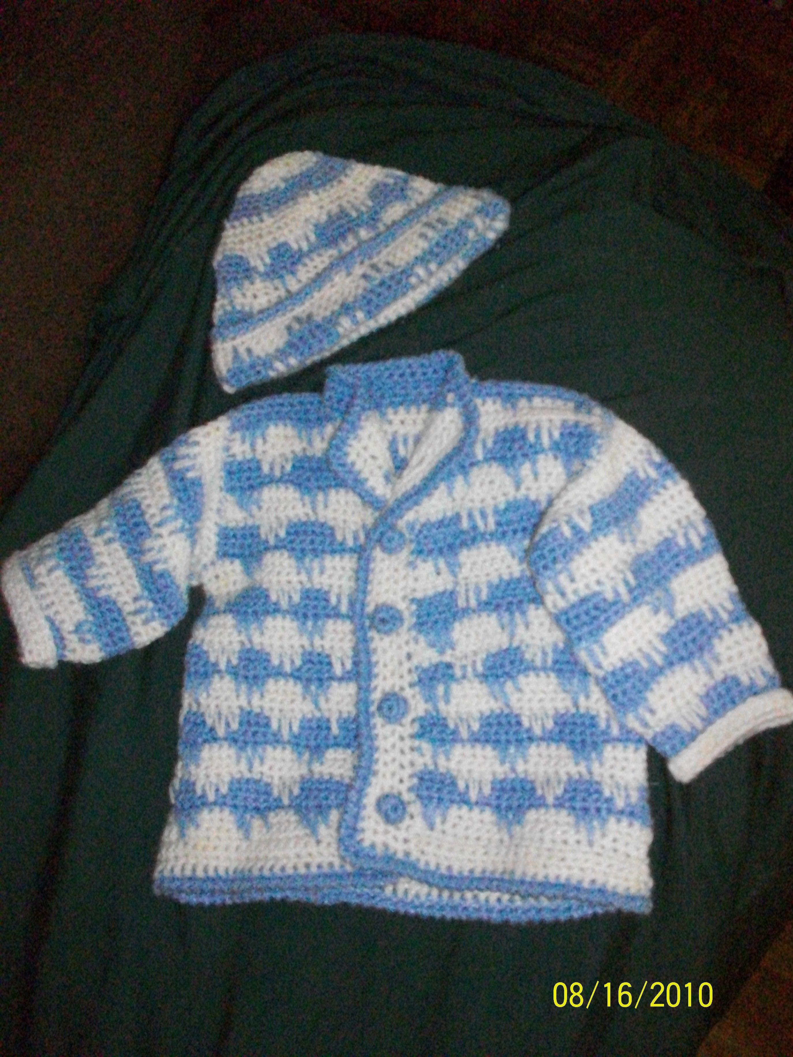 crochet for baby boy. Free pattern leaflet @ Hobby Lobby--I doubt Hobby  Lobby still has this from 2010.