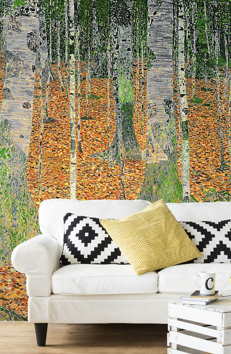 The Birch Wood Wallpaper Mural By Gustav Klimt Wallsauce Us Mural Wallpaper Tree Wallpaper Mural Wood Wallpaper