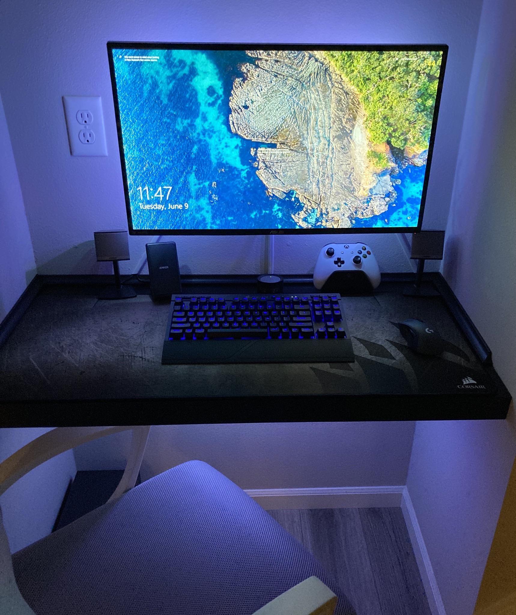 My Tiny Space Setup Desktop Is Hidden In The Basement Video Game Rooms Video Game Room Design Custom Computer