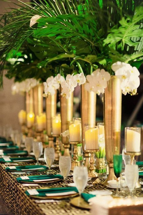 Green and gold wedding centrepiece
