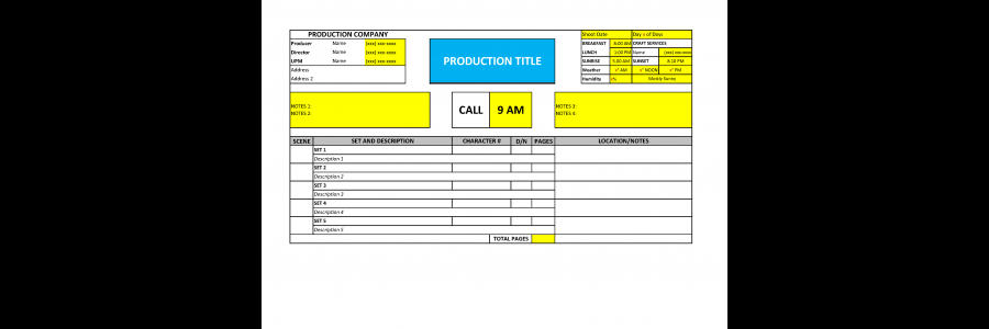 Call Sheet Template Filmmaking  Film Funding